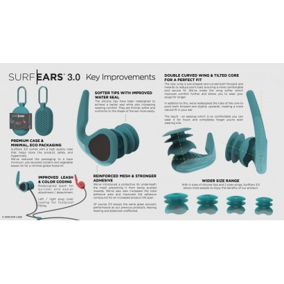 bouchons oreille SURF EARS 3 0  RED