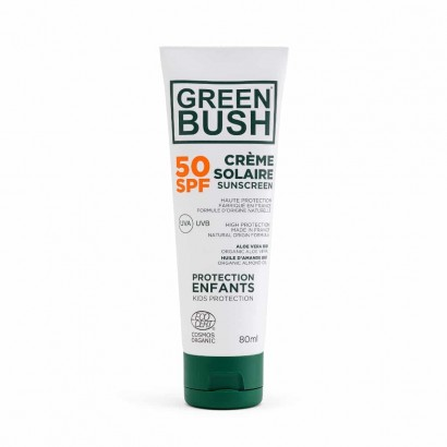 CREME SOLAIRE surf SPF50 GREENBUSH BIO COSMOS 80 ml Protection Enfant Tube Familial