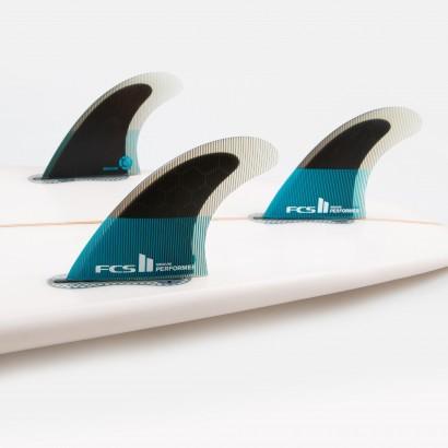 derives surf FCS II Performer PC Small Teal/Black Tri Retail Fins