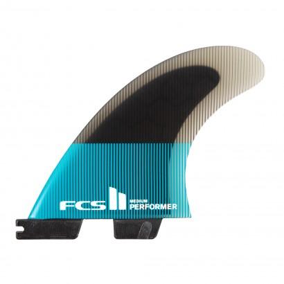 derives surf FCS II Performer PC Medium Teal/Black Tri Retail Fins