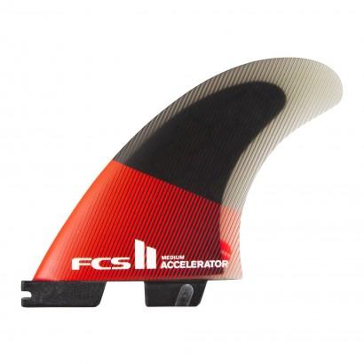 derives surf FCS II Accelerator PC Medium Red/Black Tri Retail Fins