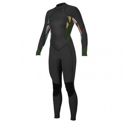 oneill wmsbahia 3 2mm black baylen darkolive back zip - combi surf integrale