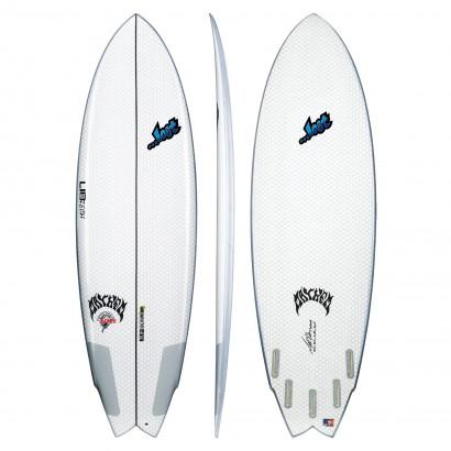 surf lib tech 5'10 lost round nose fish white