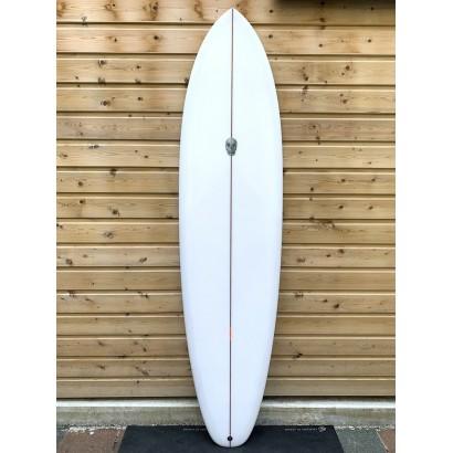 surf christenson 7'4 flat tracker sq box futures side fins