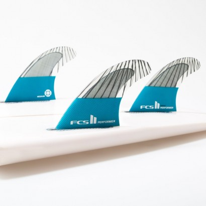 FCS II Performer PC Carbon Teal Large Tri Fins