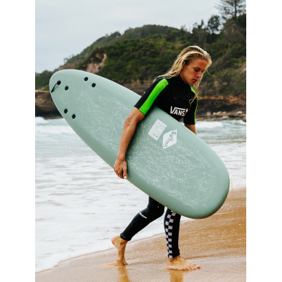 surf softech 6'10 bomber smoke green white